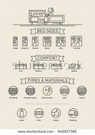 Set of cool vector linear icons on mattress shop. Choosing mattress by size,  type