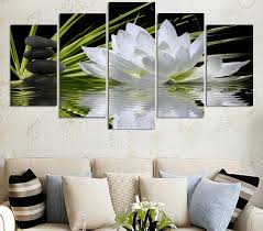 on lotus flower canvas wall art with 5 panel white lotus flower canvas wall art octotreasure