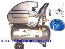 com 6 gallon air compressor with hvlp spray paint 1 4 and 50 ft air hose kit kitchen dining