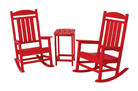 polywood pws139 1 sr presidential 3 piece rocker chair set sunset red