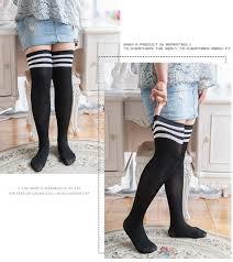 plus size thigh high socks fashion striped knee socks women cotton thigh high over the knee
