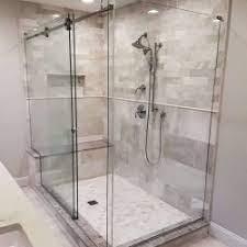 sliding frameless glass shower door