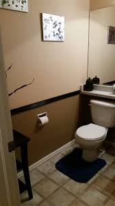 two toned bathroom paint ideas. two tone brown paint with black border in half bathroom. toned bathroom ideas h