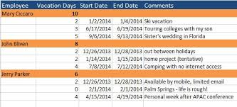 human resources templates in excel vacation schedule jpg
