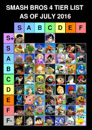 Tier List As Of July Of 2016 Super Smash Brothers Know