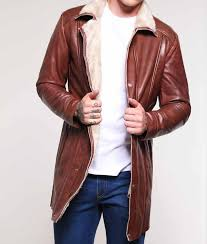 mens brown leather mid length shearling coat
