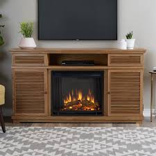 freestanding entertainment electric fireplace tv stand in natural elm