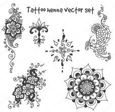 Sada Prvků Tetování Henou Stock Vektor Lemuur 122125952