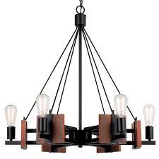 metal and wood chandelier. Bronze Iron Wood Chandelier 6 Lights 28\ Metal And