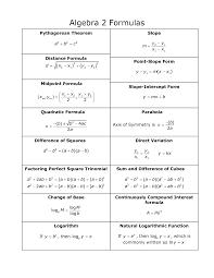 Formula Chart Algebra 2 Algebra Formulas Google Search Algebra Formulas Maths