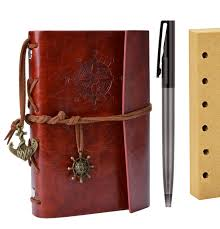 refillable journal outgeek vintage artificial leather bound notebook diary with pen blank interleaves com