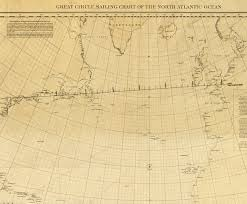 Ocean Charts California Great Circle Sailing Chart Of The North Atlantic Ocean