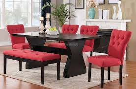 Red Dining Room Chairs Home Design Effie Dining Room Set W Red Chairs Acme Furniture