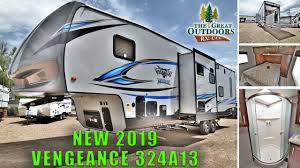 new 2019 vengeance 324a13 toy hauler fifth wheel rv patio deck colorado s dealer