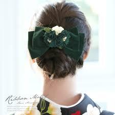 髪飾り 深緑色 グリーン 白 花束 リボン ベルベット ビロード コーム 髪