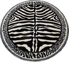 african zebra skin 5x5 area rug round black off white actual size 4 10x4