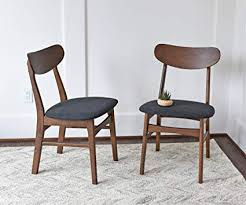 mid century modern dining chairs set of 2 by edloe finch upholstered dark grey