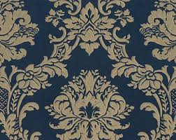 victorian wallpaper. Interesting Victorian Richly Detailed Gold Floral Damask On Navy Blue Wallpaper  Ornate Lavish  Victorian Design Vintage Decor Sold By The Yard MD29470 So In