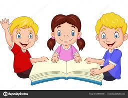 vector ilration cartoon happy kids reading book stock vector