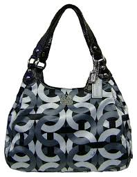 BlogGang.com     OVip - Cheap Coach Limited Edition Madision Signature Op  Art Chainlink Maggie Shoulder Hobo Bag Purse 14420 Black Gray