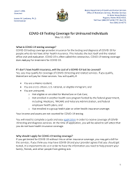 Unitedhealthcare benefit plans generally do not cover testing for employment, education, travel, public health or surveillance purposes, unless required let us know how we're doing. Https Www Maine Gov Dhhs Oms Pdfs Doc Covid 19 Individual Guidance Uninsured Covid19 05122020 Pdf