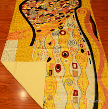klimt rugs art nouveau yellow gold abstract wall hangings accent carpets hand embroidered modern area rug tapestry contemporary carpet decorative wall art