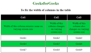 how to fix the width of columns in the