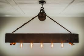 4 ft rustic beam edison bulb chandelier with vintage barn