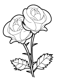 rose two flowers coloring page