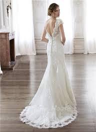 mermaid scalloped neckline open back vintage lace wedding dress