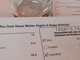 Chart House San Antonio Happy Hour Menu With Birthday Message For Our Co Worker Picture Of