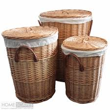 Set of 3 Natural Round Willow Wicker Laundry Baskets Bathroom Storage With  Lid