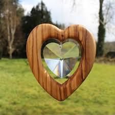 Fensterdeko Herz Groß Aus Olivenholz Herz Mit Bleikristall