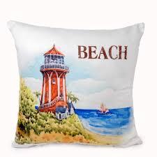 Beach Design Pillows Amazon Com Banberry Designs Beach Lighthouse Throw Pillow