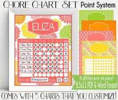 Point System Chore Chart Printable Citrus Colors