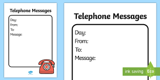 Telephone Message General Telephone Message Template Home Corner Writing Role Play