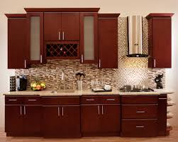 modern cherry kitchen cabinets. Kitchen. Brown Polished Wooden Cherry Kitchen Cabinet With White Countertop On Laminate Flooring Plus Sectional Modern Cabinets A