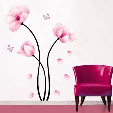 wall sticker home decor art erfly decoration mural decal wallpaper pink flower home decorating wallpaper home