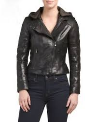 Details About Bod Christensen Hooded Black Leather Bomber Moto Jacket Sz Xs Nwt