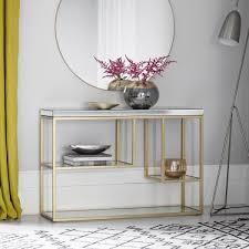 gold zurl mirrored console table