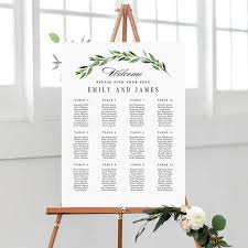 Wedding Table Seating Chart 7 Sizes Wedding Seating Chart Template Editable Wedding Table Seating Chart Poster Sign Pdf Instant Download Green Foliage Gfc