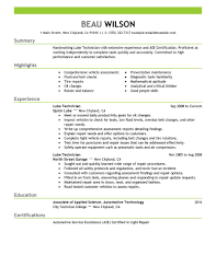 Mechanic Resume Auto Mechanic Resumes Lube Technician Automotive Emphasis 100 TGAM 100