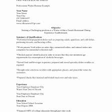 Waiter Resume Sample Sample Waiter Resume Elegant Waitress Examples Free Career And 52