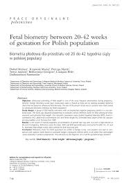 Normal Fetal Biometry Chart Pdf Fetal Biometry Between 20 42 Weeks Of Gestation For