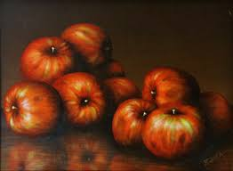 Art, <b>Realistic</b>, Classic, Acrylic, Painting, Red, Apples, <b>Fruit</b>, Still Life ...