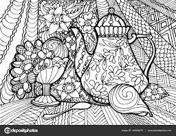 Illustrazione Natura Morta Frutta Da Colorare Decorativo Natura