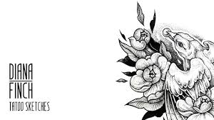 Tattoo Sketch Draw Dotwork Tattoo Sketch Bird With Flowers