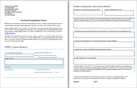 Ms Word Student Complaint Form | Word Document Templates