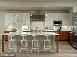 Limestone Floors In Kitchen Modern Kitchen With High Ceiling Breakfast Bar In Washington Dc