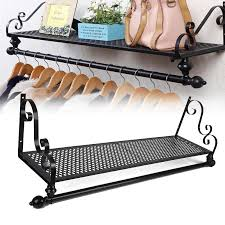 new retro metal clothes rail wall mounted garment hanging rack intended for idea 8